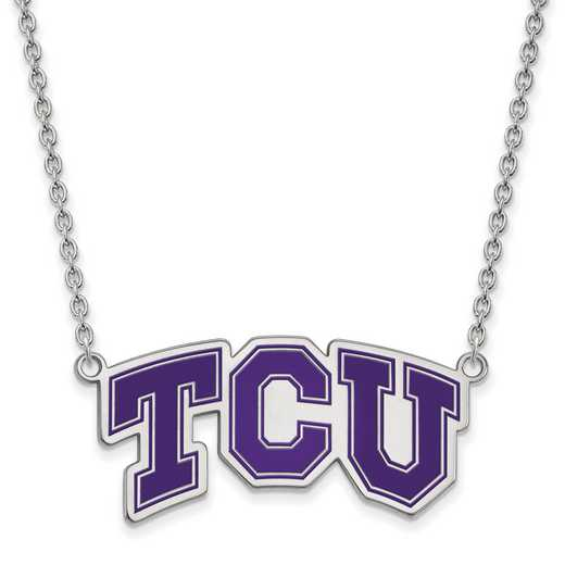 SS042TCU-18: SS LogoArt Texas Christian U LG Enamel Pendant w/Necklace