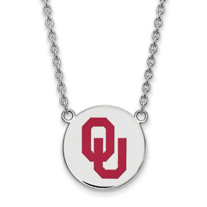 SS045UOK-18: SS LogoArt Oklahoma LG Enamel Disc Pendant w/Necklace