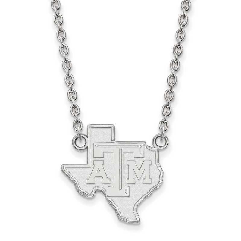 SS049TAM-18: SS LogoArt Texas A&M Univ LG Pendant w/Necklace