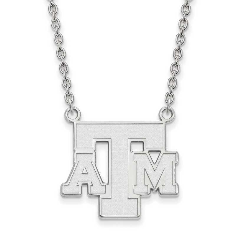 SS061TAM-18: SS LogoArt Texas A&M Univ LG Pendant w/Necklace