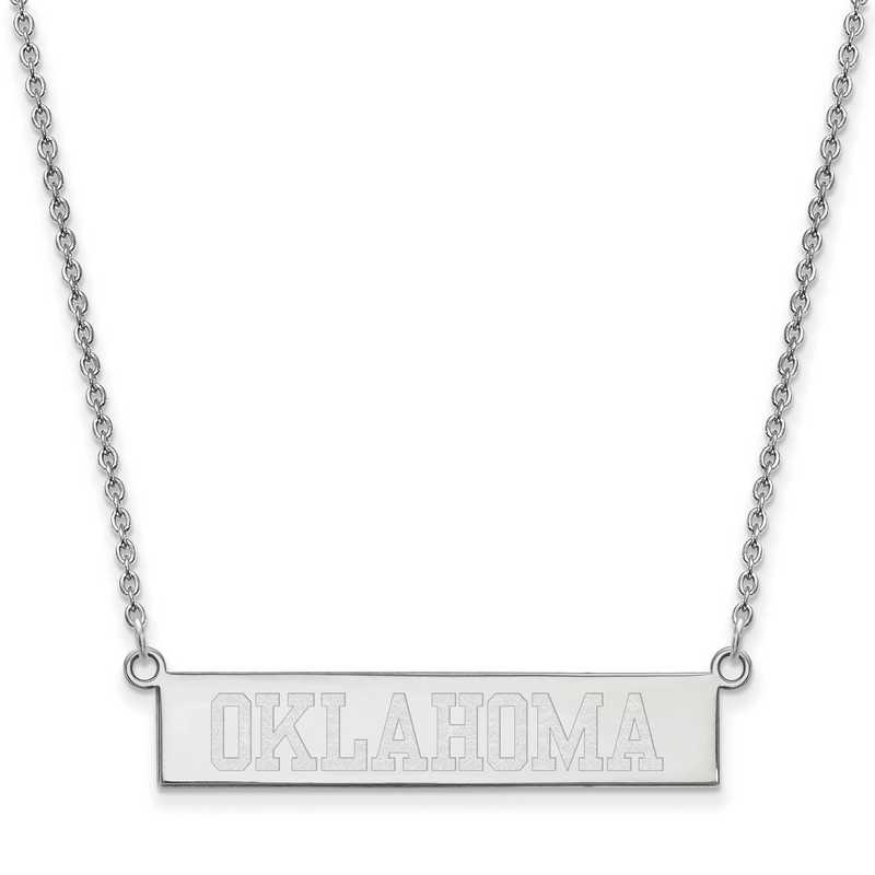 SS061UOK-18: SS LogoArt The Univ of Oklahoma SML Bar Necklace