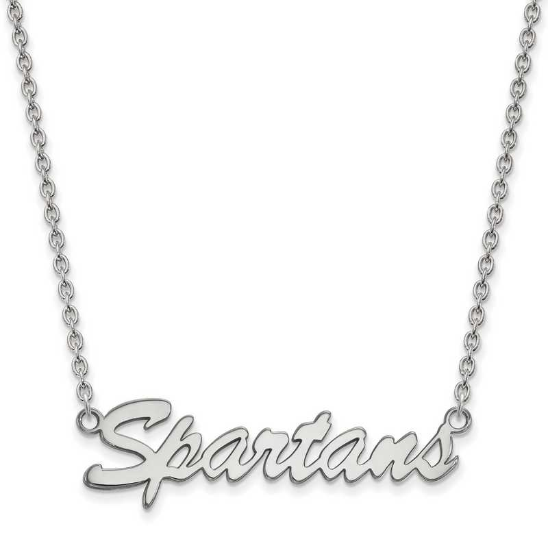 SS067MIS-18: SS LogoArt Michigan St Univ Medium Pendant w/Necklace