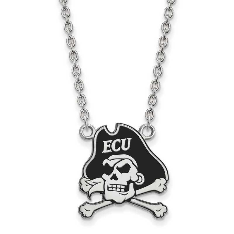 SS069ECU-18: SS LogoArt East Carolina U LG Enamel Pendant w/Necklace