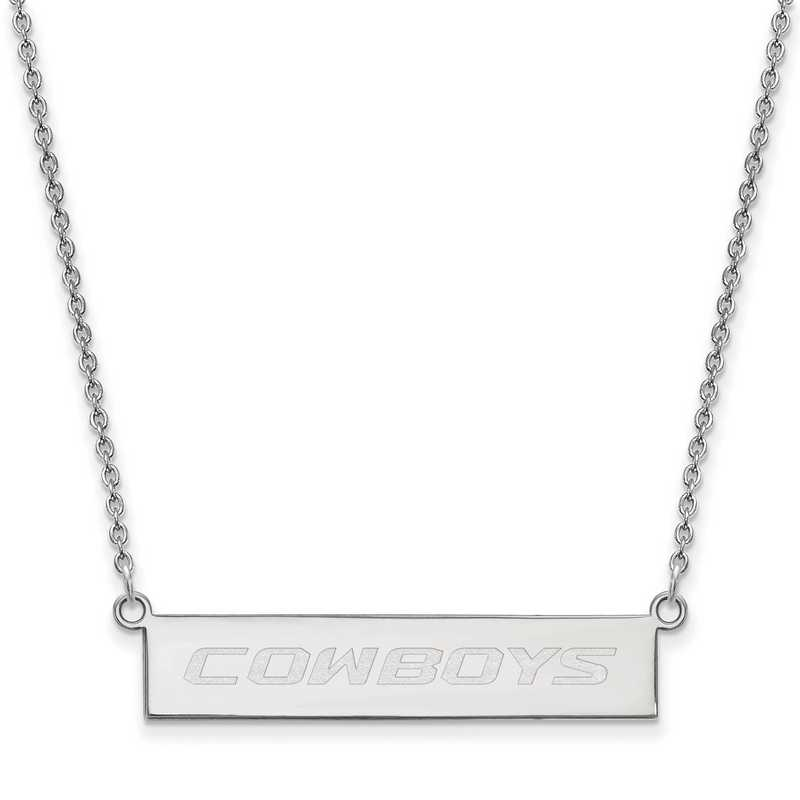 SS069OKS-18: SS LogoArt Oklahoma St Univ SML Bar Necklace