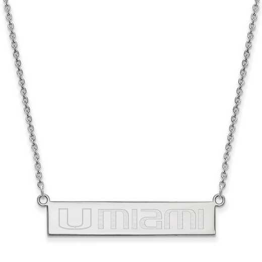 SS071UMF-18: SS LogoArt Univ of Miami Florida SML Bar Necklace