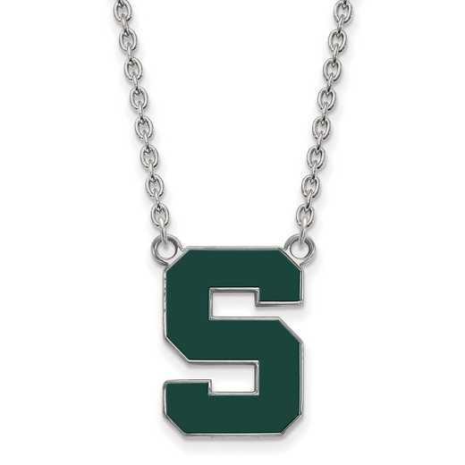 SS073MIS-18: SS LogoArt Michigan St U LG Enamel Pendant w/Necklace