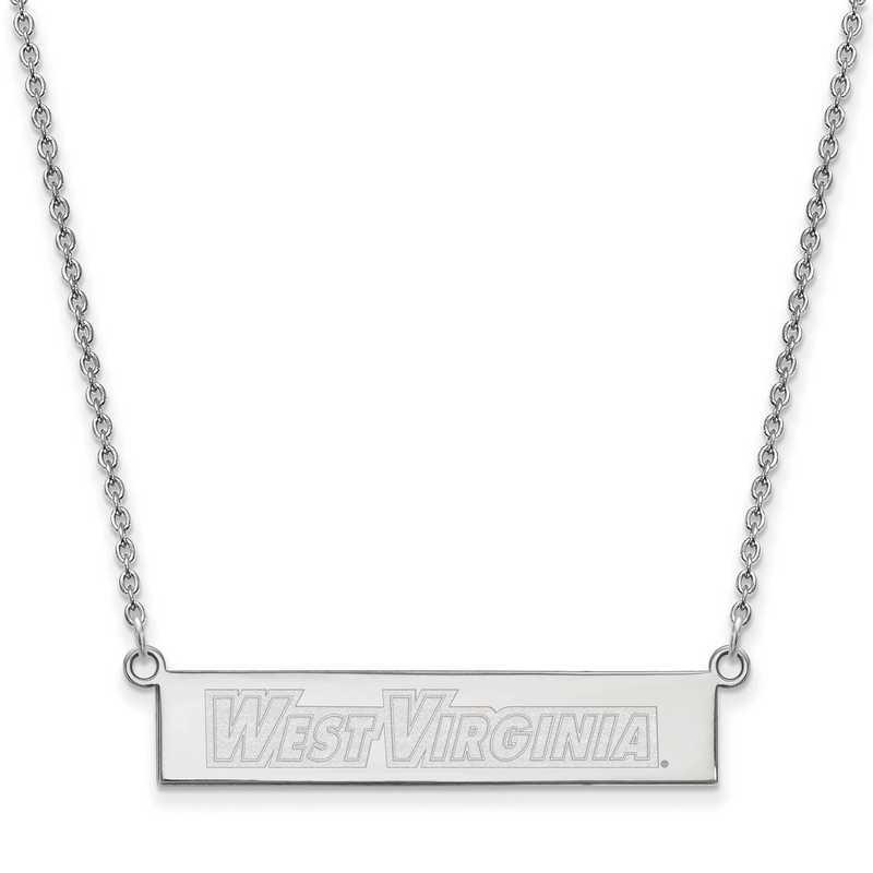 SS073WVU-18: SS LogoArt West Virginia Univ SML Bar Necklace