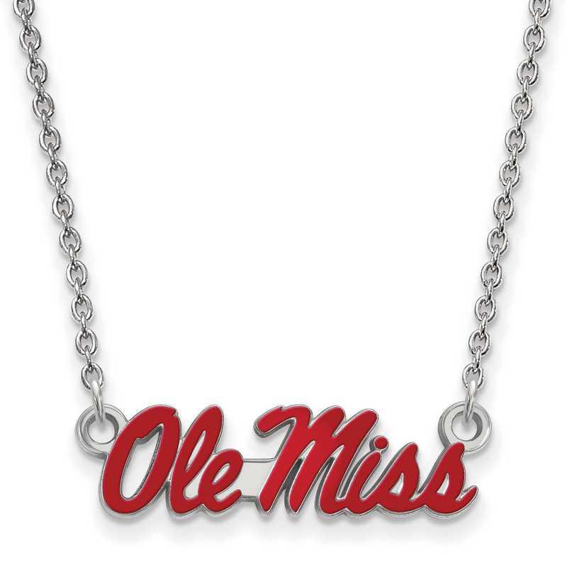 SS080UMS-18: SS LogoArt U of Mississippi SML Enamel Pendant w/necklace