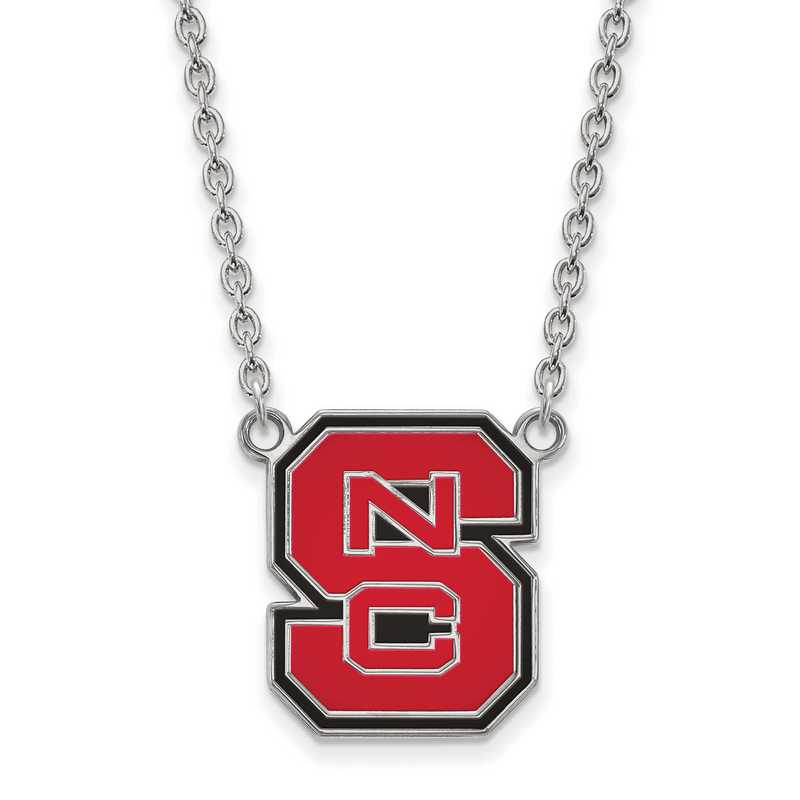 SS081NCS-18: SS LogoArt North Carolina St U Lg Enl Pendant w/Necklace