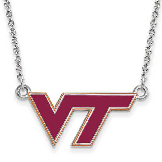 SS081VTE-18: SS LogoArt Virginia Tech SML Enamel Pendant w/Necklace