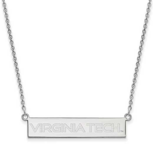 SS082VTE-18: SS LogoArt Virginia Tech SML Bar Necklace