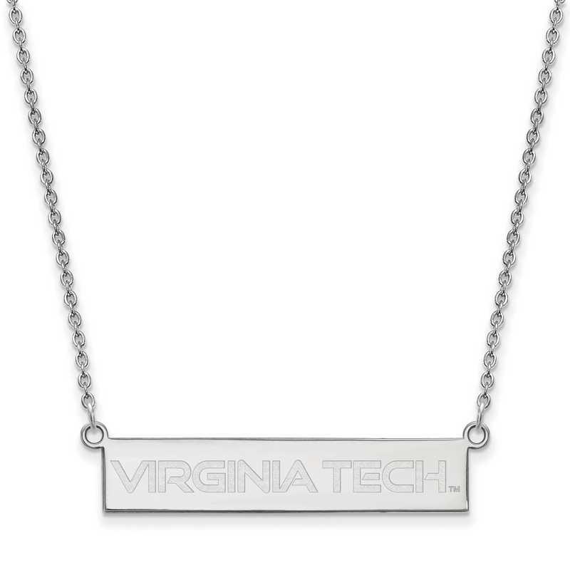 SS082VTE-18: SS LogoArt Virginia Tech SML Bar Necklace