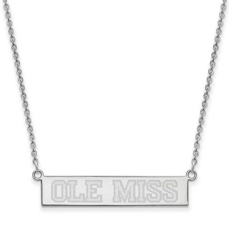 SS085UMS-18: SS LogoArt Univ of Mississippi SML Bar Necklace Ole MIss