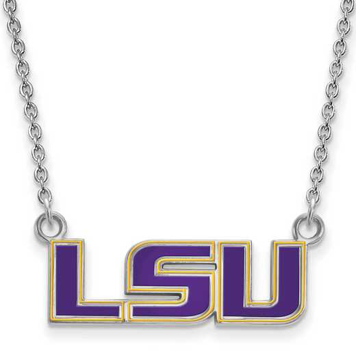 SS088LSU-18: SS LogoArt Louisiana St U SML Enamel Pendant w/necklace