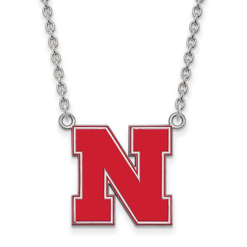 SS097UNE-18: SS LogoArt U of Nebraska LG Enamel Pendant w/Necklace