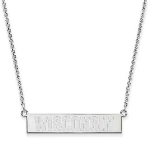 SS099UWI-18: SS LogoArt Univ of Wisconsin SML Bar Necklace