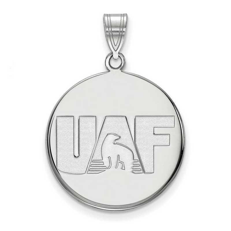 SS001UAF: SS LogoArt Univ of Alaska Fairbanks LG Disc Pendant