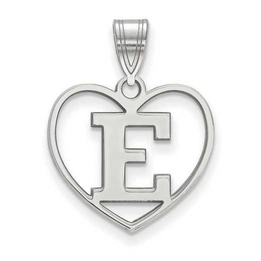 SS009EMU: SS LogoArt Eastern Michigan Univ Pendant in Heart