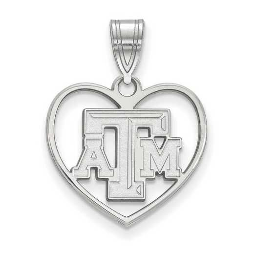 SS011TAM: SS LogoArt Texas A&M Univ Pendant in Heart