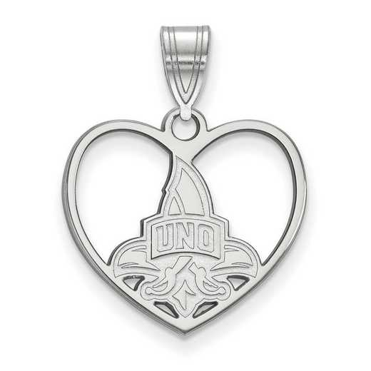 SS012UNO: SS LogoArt Univ of New Orleans Pendant in Heart