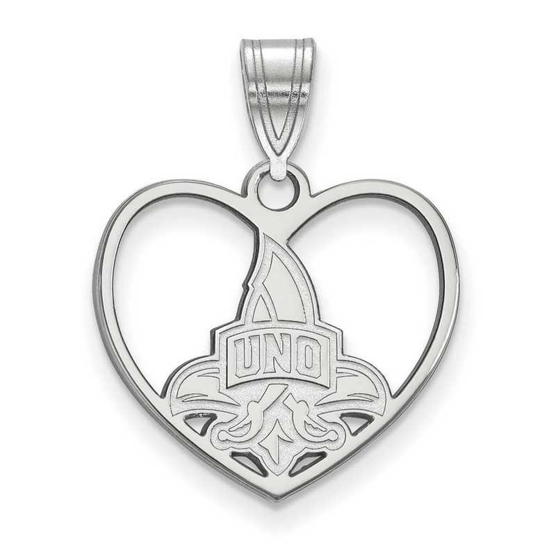 SS012UNO: SS LogoArt Univ of New Orleans Pendant in Heart