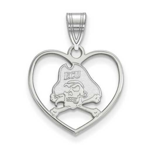 SS013ECU: SS LogoArt East Carolina Univ Pendant in Heart