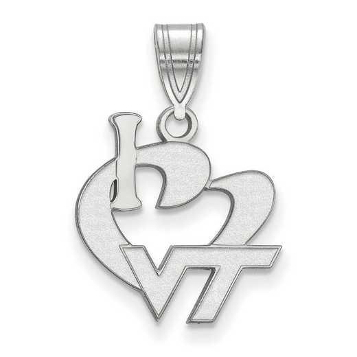 SS014VTE: SS LogoArt Virginia Tech Large I Love Logo Pendant