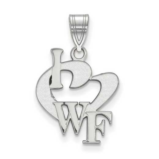 SS014WFU: SS LogoArt Wake Forest Univ Large I Love Logo Pendant