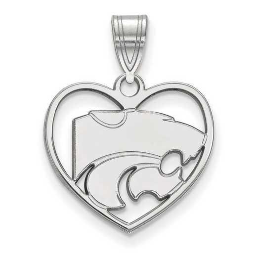 SS017KSU: SS LogoArt Kansas State Univ Pendant in Heart