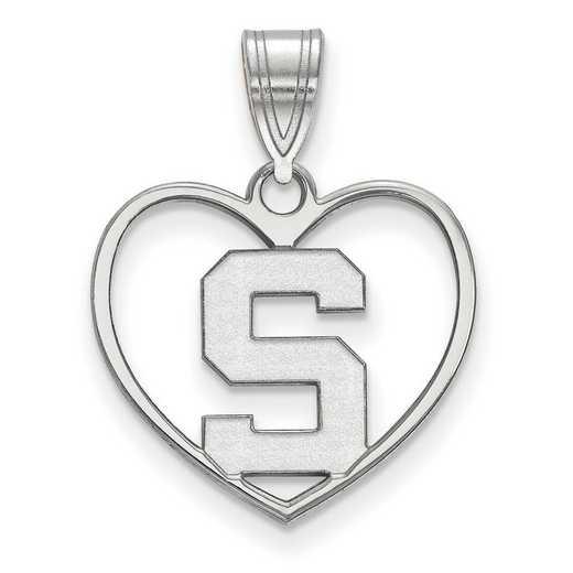 SS017MIS: SS LogoArt Michigan State Univ Pendant in Heart