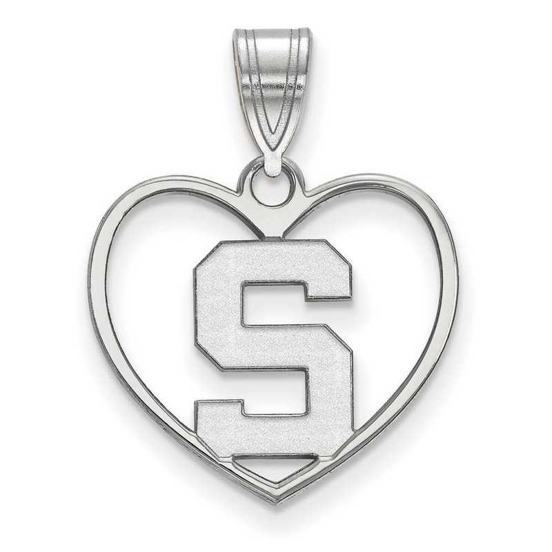 SS017MIS: SS LogoArt Michigan State Univ Pendant in Heart