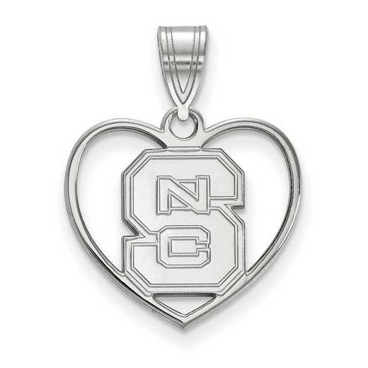 SS017NCS: SS LogoArt North Carolina State Univ Pendant in Heart