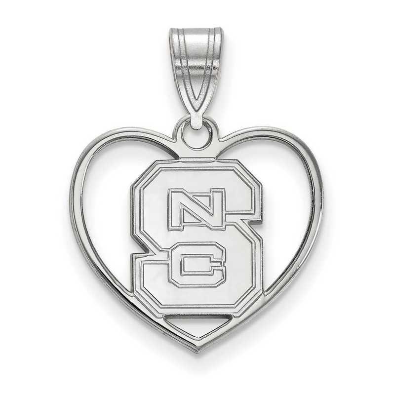 SS017NCS: SS LogoArt North Carolina State Univ Pendant in Heart