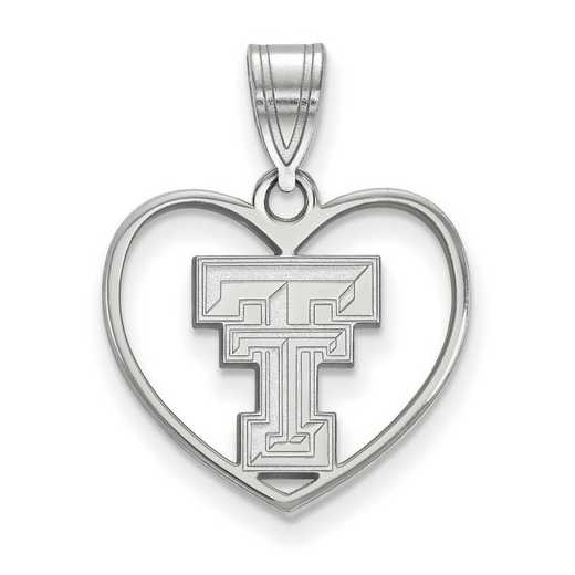 SS017TXT: SS LogoArt Texas Tech Univ Pendant in Heart