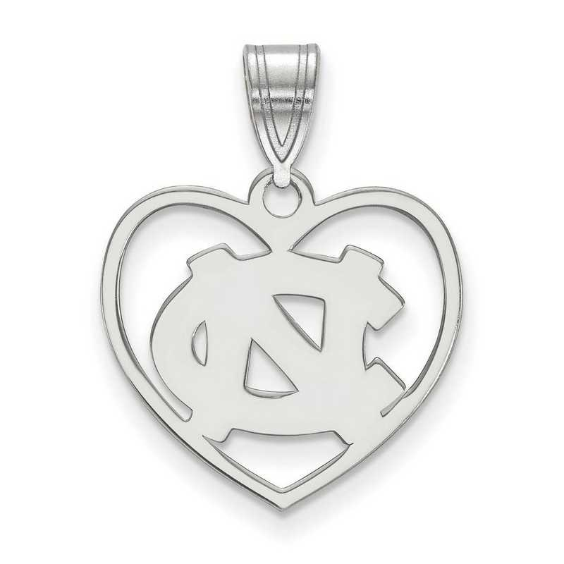 SS017UNC: SS LogoArt Univ of North Carolina Pendant in Heart