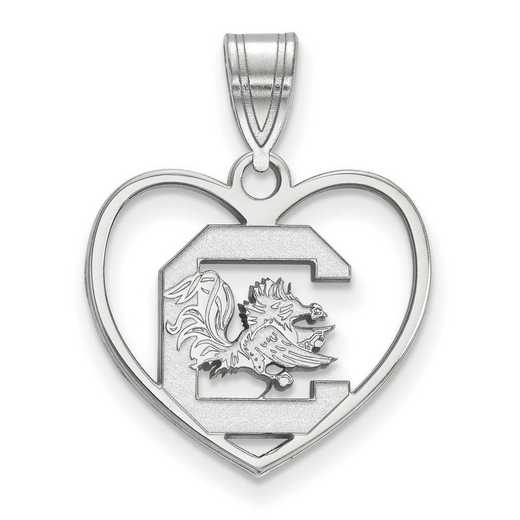 SS017USO: SS LogoArt Univ of South Carolina Pendant in Heart