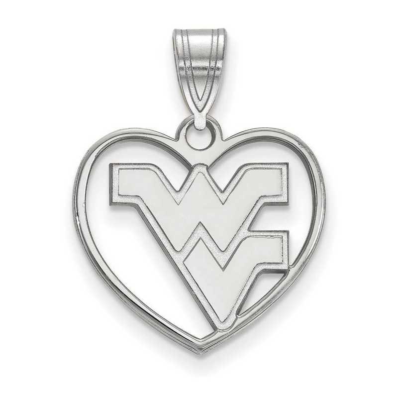 SS017WVU: SS LogoArt West Virginia Univ Pendant in Heart