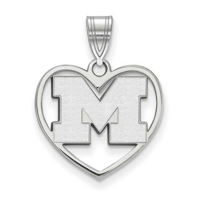 SS018UM: SS LogoArt Michigan (Univ Of) Pendant in Heart