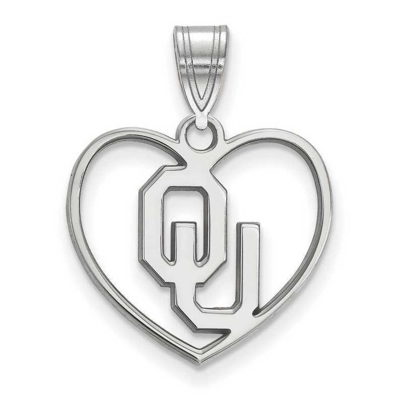 SS018UOK: SS LogoArt Univ of Oklahoma Pendant in Heart