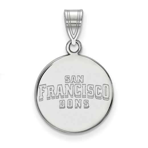 SS018USF: SS LogoArt Univ of San Francisco Medium Disc Pendant
