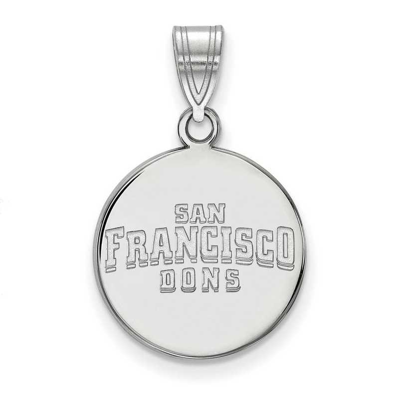 SS018USF: SS LogoArt Univ of San Francisco Medium Disc Pendant