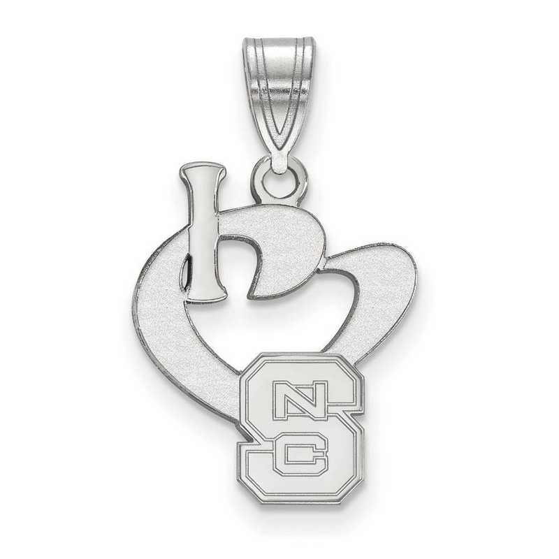 SS020NCS: SS LogoArt North Carolina State U Large I Love Logo Pendant