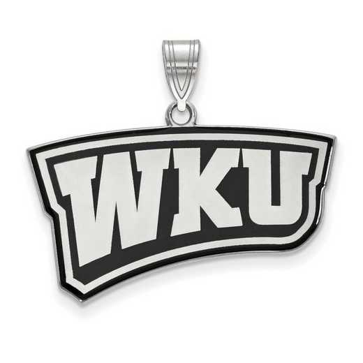 SS023WKU: SS LogoArt Western Kentucky Univ LG Enamel Pendant