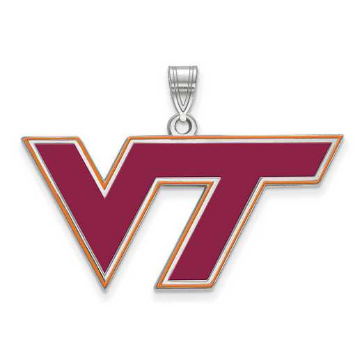 SS026VTE: SS LogoArt Virginia Tech LG Enamel Pendant