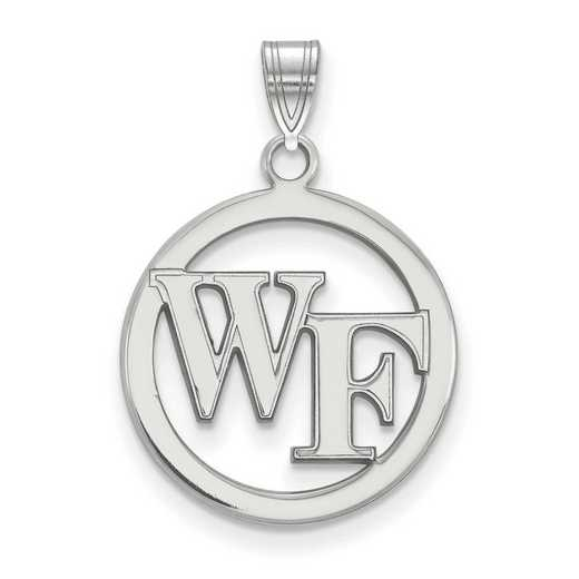 SS027WFU: SS LogoArt Wake Forest Univ Sm Pendant in Circle