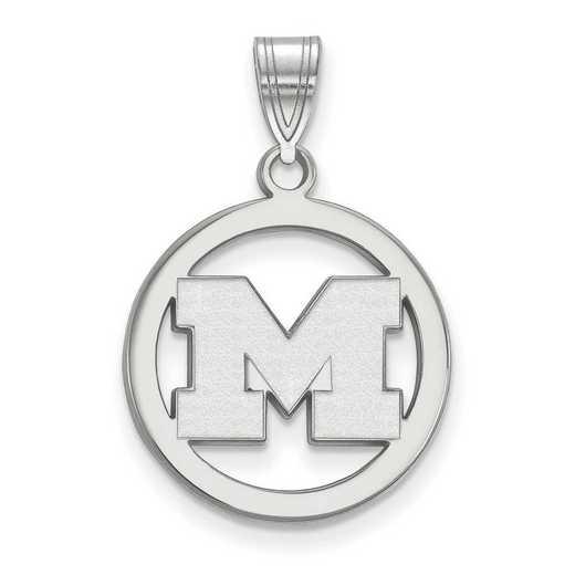 SS030UM: SS LogoArt Michigan (Univ Of) Med Pendant in Circle