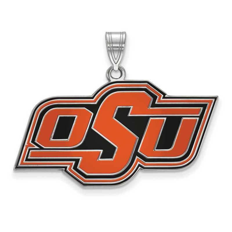 SS031OKS: SS LogoArt Oklahoma St Univ LG Enamel Pendant