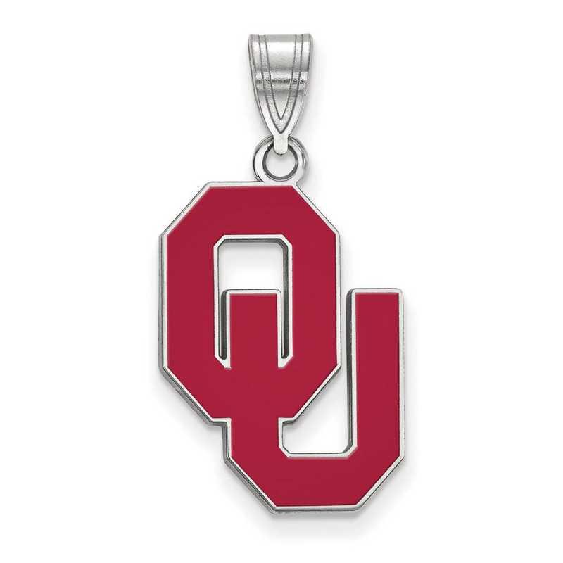 SS031UOK: SS LogoArt Univ of Oklahoma LG Enamel Pendant