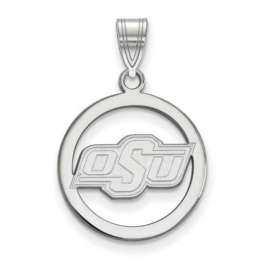 SS032OKS: SS LogoArt Oklahoma State Univ Sm Pendant in Circle