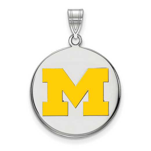 SS039UM: SS LogoArt Michigan (Univ Of) LG Yellow Enamel Disc Pendant